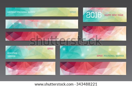 Abstract polygonal banner templates in different sizes