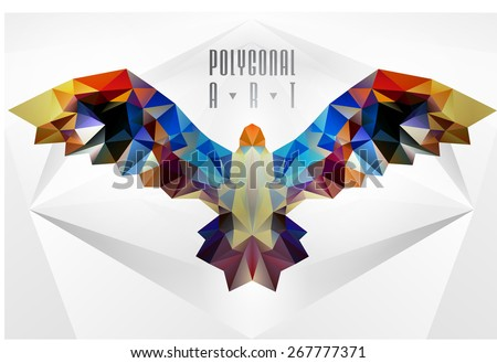 Abstract polygonal bird. Geometric illustration. . low poly poster - stock vector