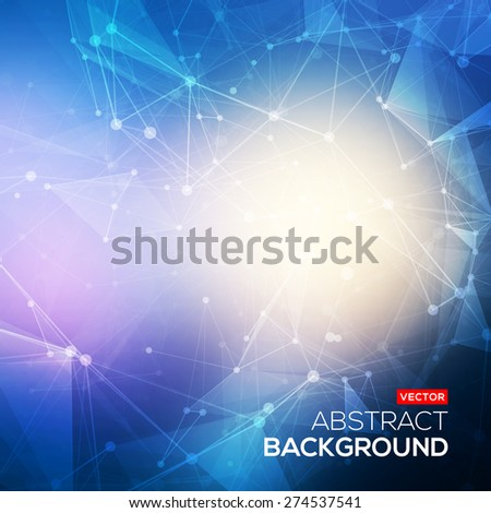 Abstract polygonal blue colorful low poly bright background with connecting dots and lines. Connection structure. Vector science background. Polygonal vector background. Futuristic HUD background. - stock vector