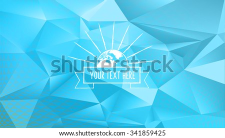 abstract polygonal blue vibrant background with vintage sun line symbol - stock vector