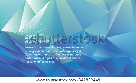 abstract polygonal blue vibrant landscape 3d background with vintage line symbol - stock vector