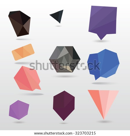 abstract polygonal bubbles vector set - stock vector