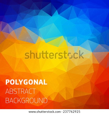 Abstract polygonal colorful background with place for text. Trendy geometric triangle hipster background. Ideal for gadgets backdrop or presentations. - stock vector