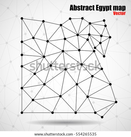 Abstract World Map Dots Line Vector Stock Vector - Map of egypt vector