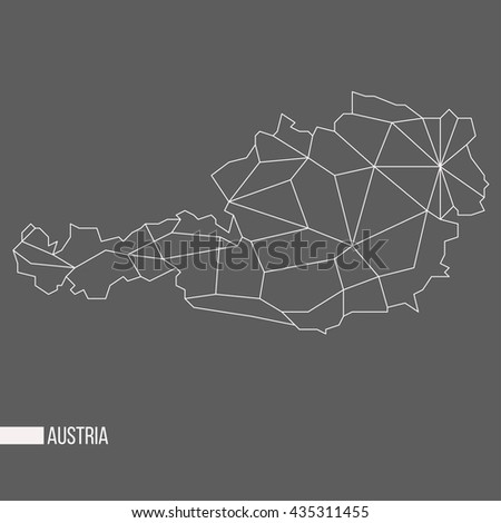 Abstract polygonal geometric Austria minimalistic vector map isolated on grey background - stock vector