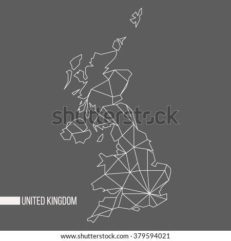 Abstract polygonal geometric United Kingdom, England, Scotland, Wales, Northern Ireland minimalist vector map isolated on gray background - stock vector