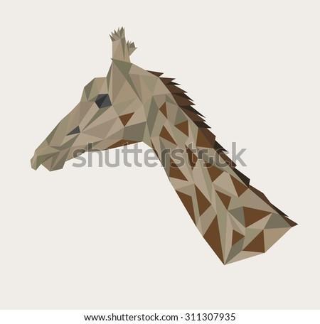 Abstract polygonal head of giraffe. Vector illustration.  - stock vector