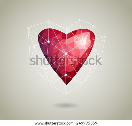 Abstract polygonal heart. Red origami Polygonal heart on white background with shadow. Vector Illustration.  - stock vector