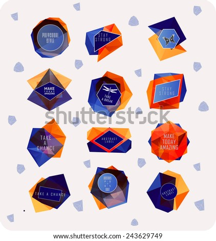 Abstract polygonal label design. Elements of astronomy and constellation. Cosmic style - stock vector