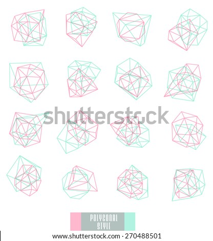 Abstract polygonal label design, transparent elements. Hipster background.  Cosmic style. . low poly illustration - stock vector