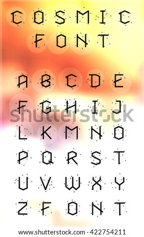 Abstract polygonal letter in Cosmic style. Low poly alphabet font. Elements of astronomy - stock vector