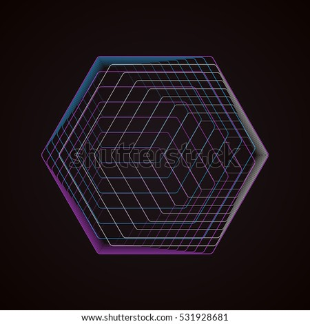 Abstract polygonal logo isolated on black. Geometric design symbol, hexagonal geometry. Vector background made of hexagons.