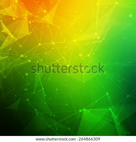 Abstract polygonal low poly dark background with connecting dots and lines. Connection structure. Vector science background. Polygonal vector background. Futuristic HUD background. - stock vector