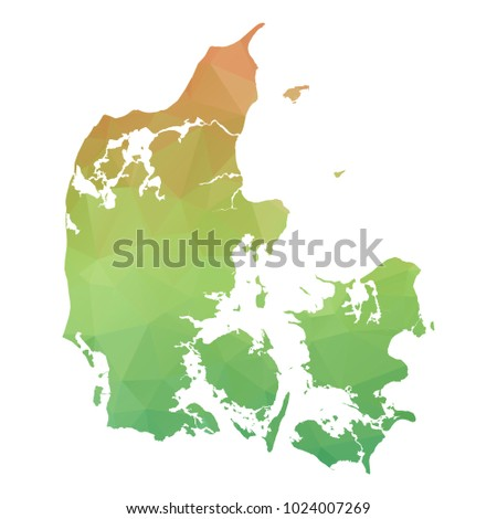 Abstract Polygonal Map - Vector illustration Low Poly Colorful map of Denmark on white background. Vector illustration eps10.