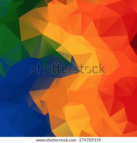 Abstract polygonal multicolor background. Trendy geometric triangle hipster background. Ideal for gadgets backdrop or presentations. - stock vector