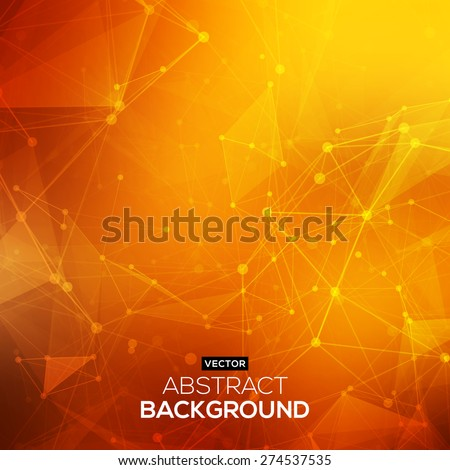 Abstract polygonal orange red low poly background with connecting dots and lines. Connection structure. Vector science background. Polygonal vector background. Futuristic HUD background. - stock vector