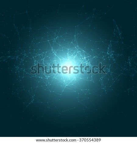 Abstract Polygonal Space Blue Background with Connecting Dots and Lines | EPS10 Vector Illustration - stock vector