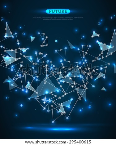 Abstract polygonal space blue background with connecting dots and lines. Futuristic technology wireframe mesh. Geometric Modern Technology Concept. Digital Data Visualization. - stock vector