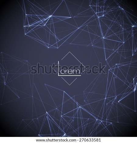 Abstract Polygonal Space Dark Blur Background with Connecting Dots and Lines | EPS10 Vector Illustration