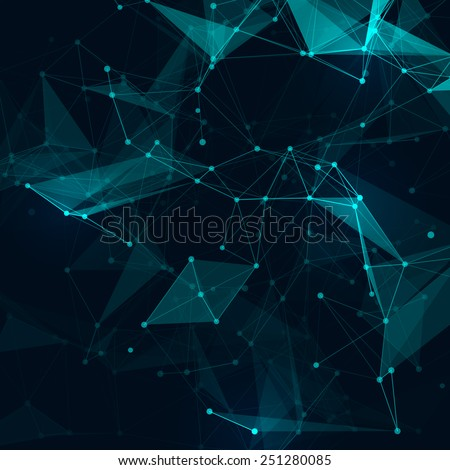Abstract polygonal space low poly dark background with connecting dots and lines.  Connection structure. Vector science background. Polygonal vector background. Futuristic HUD background.  - stock vector