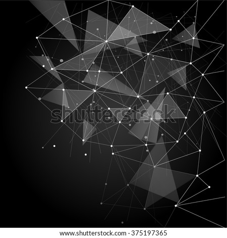 Abstract polygonal space low poly grey background with connecting dots and lines. Connection structure. Vector science background. Polygonal vector black background. Futuristic HUD background.Techno. - stock vector
