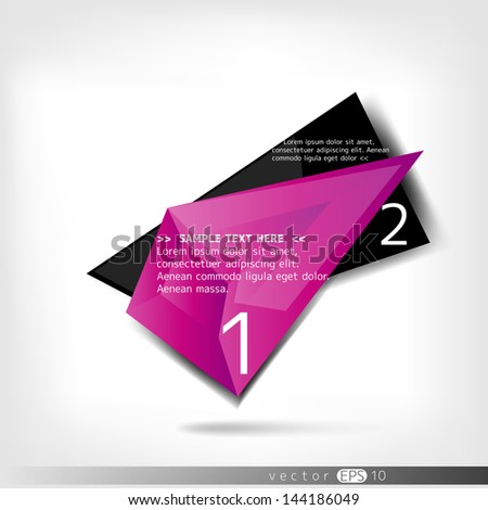 Abstract polygonal speech banner with black color - stock vector