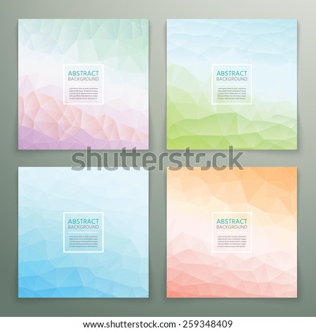 Abstract polygonal with square text background set. Trendy background with pastel colours. - stock vector