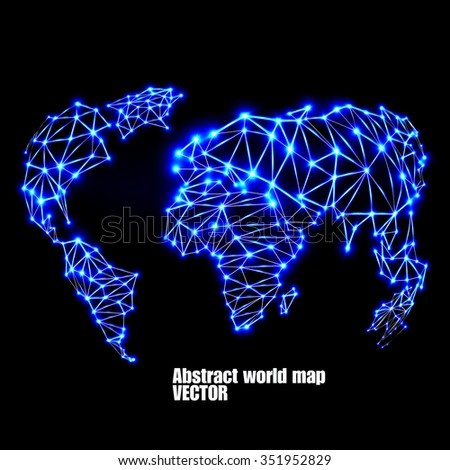 Abstract polygonal world map with glowing dots and lines, network connections. Vector illustration. Eps 10