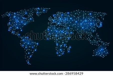 Abstract polygonal world map with hot points, network connections   - stock vector