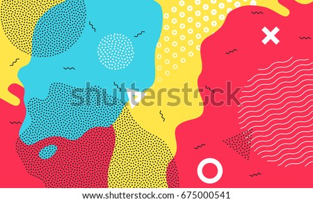 Abstract Pop Art Color Background With Bright Yellow Red And Blue Paint Splash Vector