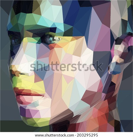 Abstract portrait, made of triangles - stock vector