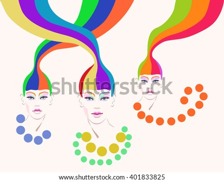 Abstract portrait of a girl (model) with red hair, creative make-up,  beads, beauty logo, fashion - stock vector