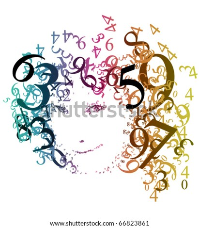 Abstract portrait of a woman with numbers - stock vector