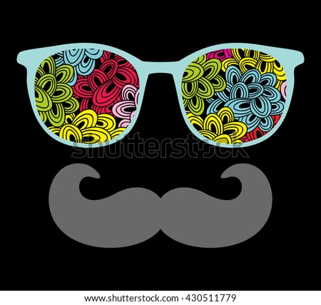 Abstract portrait of man in sunglasses and with moustache. Vintage print in vector. - stock vector