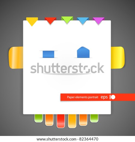 Abstract portrait of paper elements - stock vector