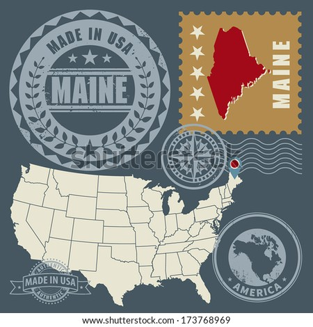 Abstract post stamps set with name and map of Maine, USA, vector illustration - stock vector