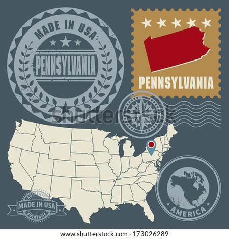 Abstract post stamps set with name and map of Pennsylvania, USA, vector illustration - stock vector