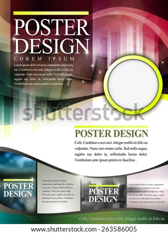 abstract poster template design with translucent background - stock vector