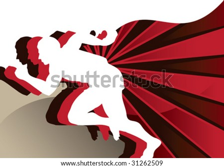 Abstract poster with runners. Vector illustration. - stock vector