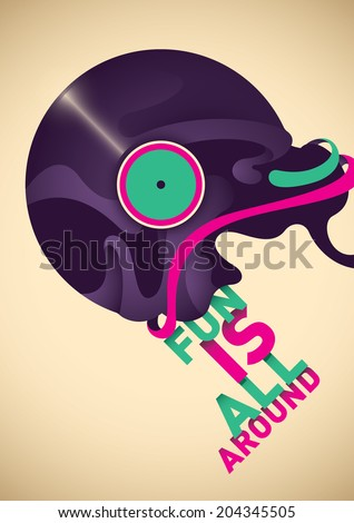 Abstract poster with vinyl. Vector illustration. - stock vector