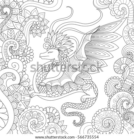 Abstract Pretty Dragon Flying In Floral Forest Design For Adult Coloring Book Page