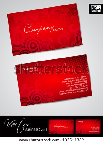 Abstract professional and designer business card template or visiting card set in red color. EPS 10. Vector illustration. - stock vector