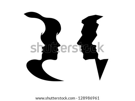 Abstract profile of a woman and man - stock vector