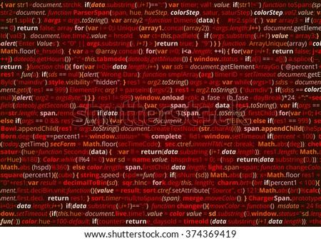Abstract program code. Screen  of source code script. Vector red background - stock vector