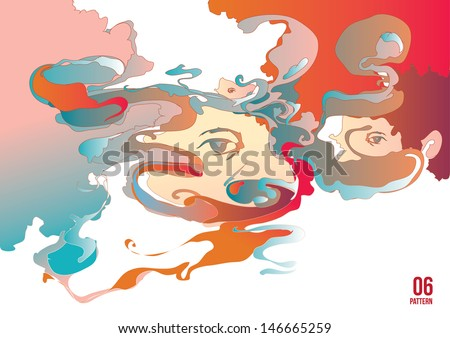 Abstract Psychedelic face doodle vector - stock vector