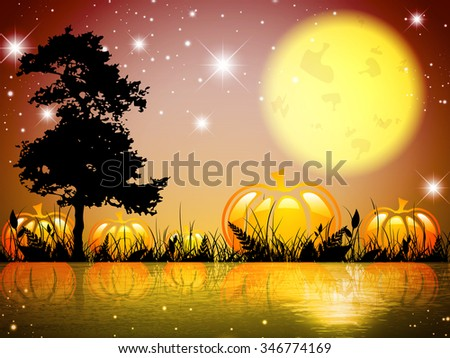 Abstract Pumpkin Halloween Moon Night Lake With Grass and Tree - stock vector