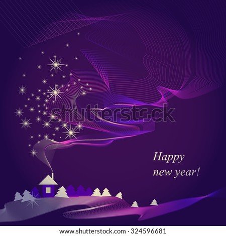 Abstract purple Christmas song  - stock vector