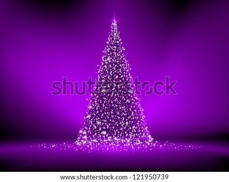 Abstract purple christmas tree on purple. EPS 8 vector file included - stock vector