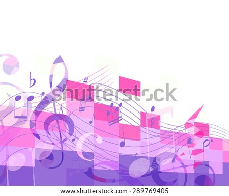 abstract purple musical background with key and notes, musical signs - stock vector