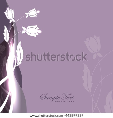 Abstract Purple Shiny Background with Flowers. - stock vector
